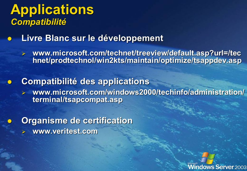 Applications Compatibilité