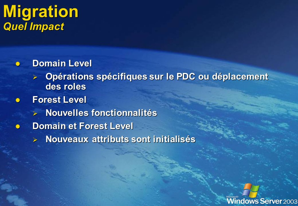 Migration Quel Impact Domain Level