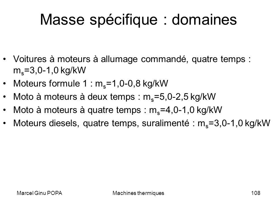Masse spécifique : domaines