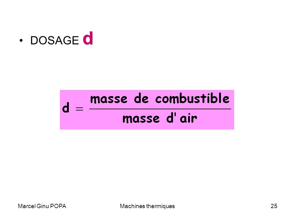 DOSAGE d Marcel Ginu POPA Machines thermiques