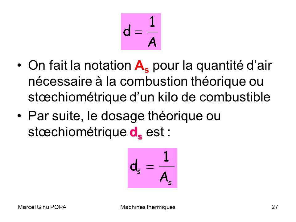 Par suite, le dosage théorique ou stœchiométrique ds est :