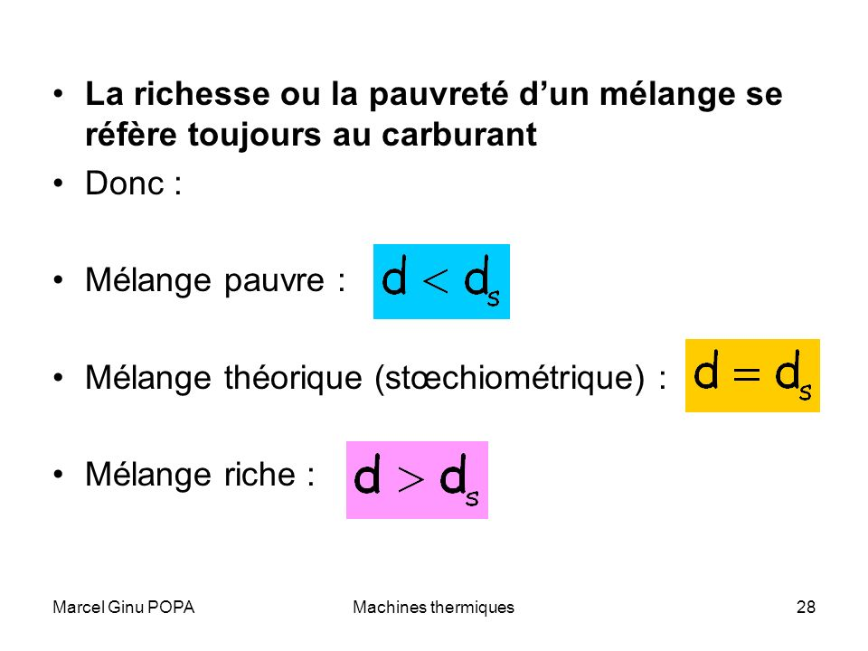 Mélange théorique (stœchiométrique) : Mélange riche :