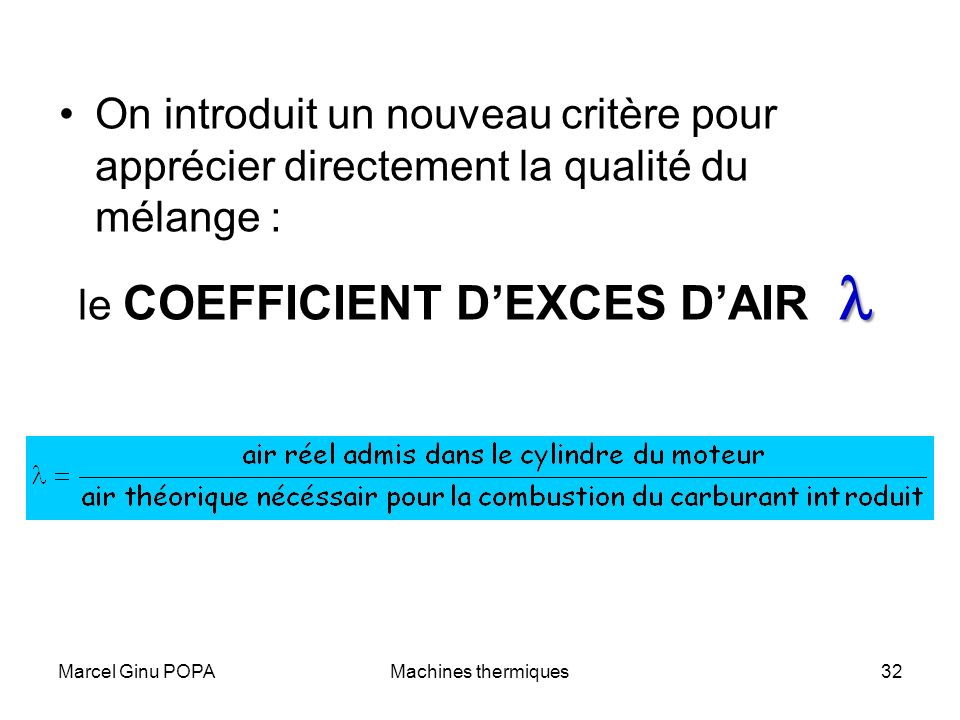 le COEFFICIENT D'EXCES D'AIR l