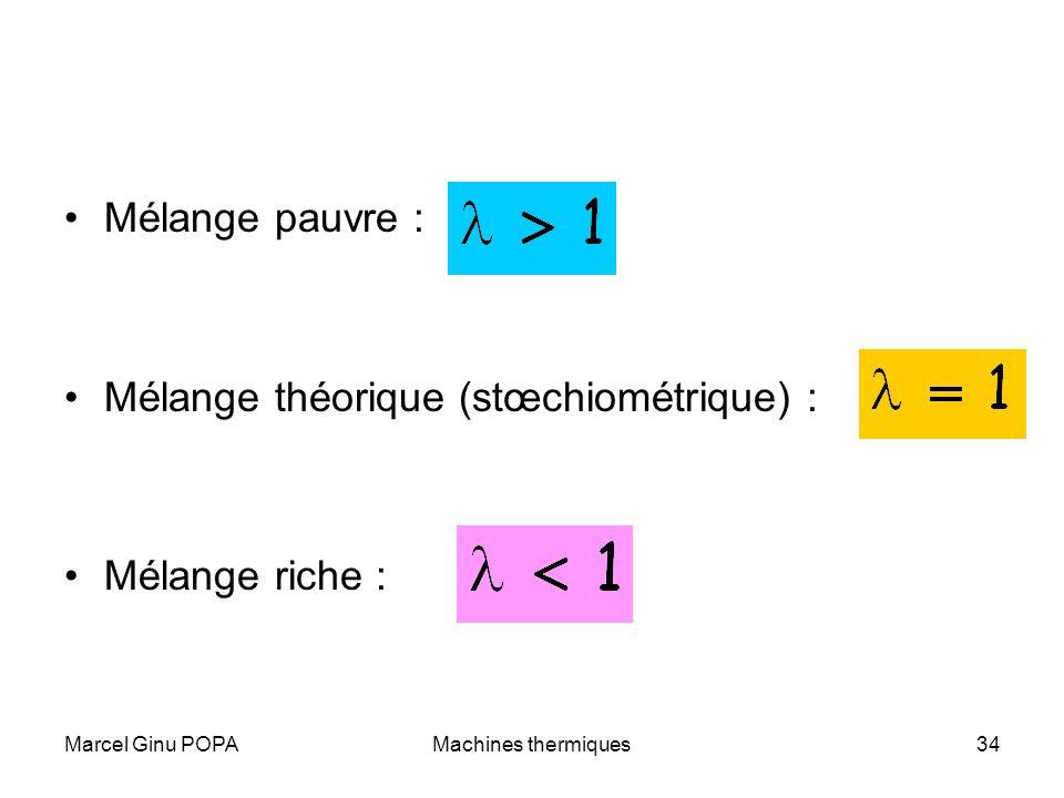 Mélange théorique (stœchiométrique) :