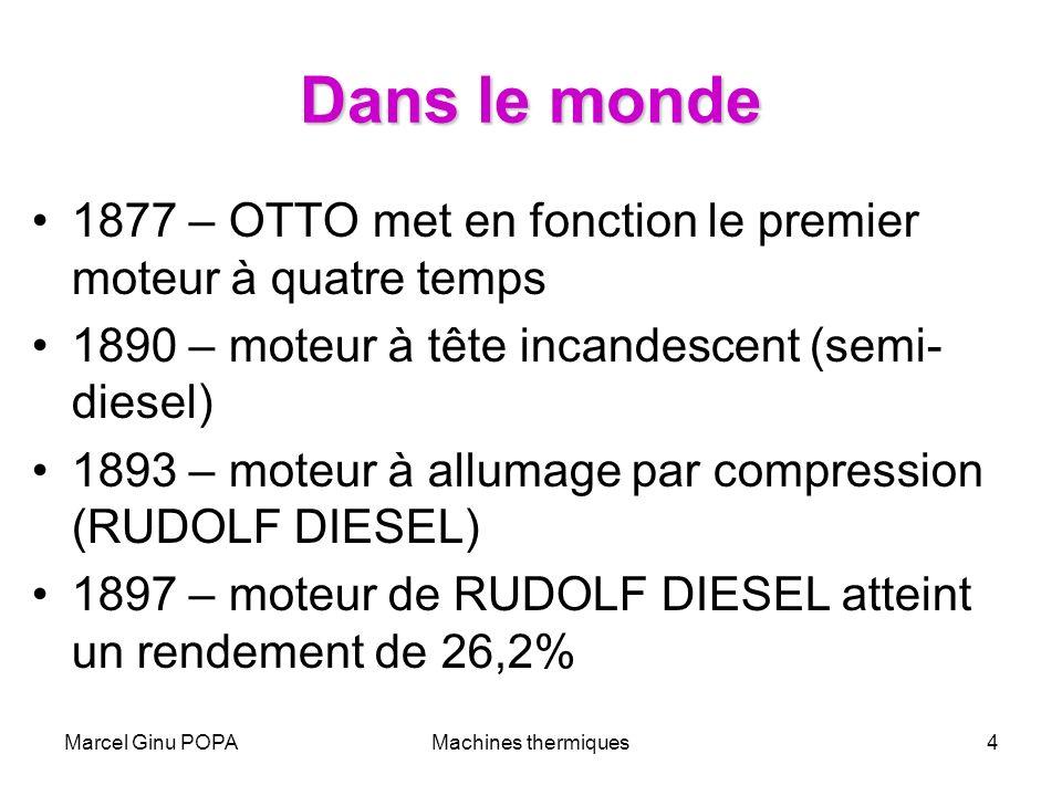 Dans le monde 1877 – OTTO met en fonction le premier moteur à quatre temps. 1890 – moteur à tête incandescent (semi-diesel)