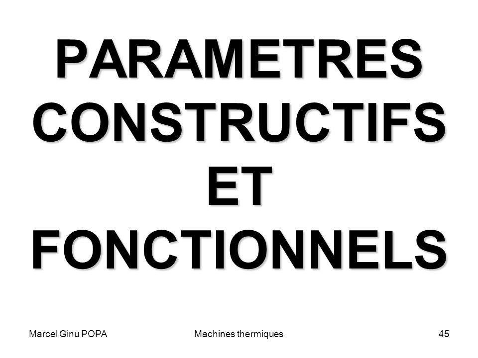 PARAMETRES CONSTRUCTIFS ET FONCTIONNELS