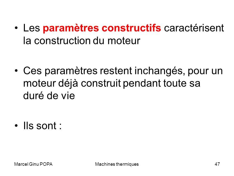 Les paramètres constructifs caractérisent la construction du moteur