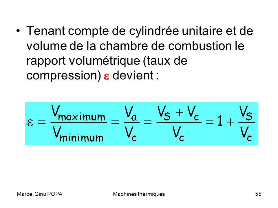 Tenant compte de cylindrée unitaire et de volume de la chambre de combustion le rapport volumétrique (taux de compression) e devient :