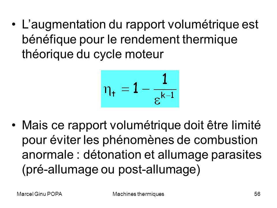 L'augmentation du rapport volumétrique est bénéfique pour le rendement thermique théorique du cycle moteur