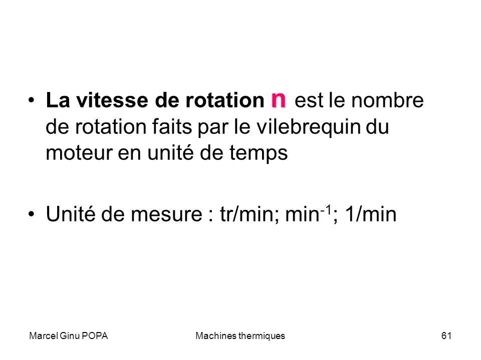 Unité de mesure : tr/min; min-1; 1/min