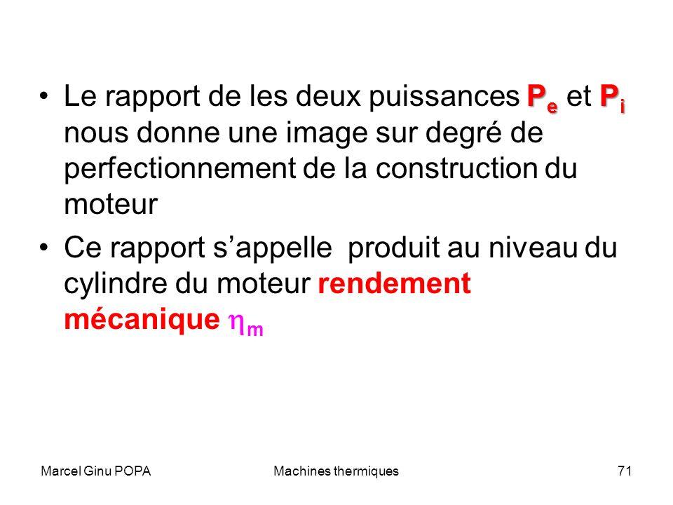 Le rapport de les deux puissances Pe et Pi nous donne une image sur degré de perfectionnement de la construction du moteur