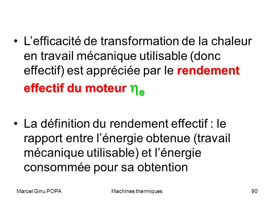 L'efficacité de transformation de la chaleur en travail mécanique utilisable (donc effectif) est appréciée par le rendement effectif du moteur he