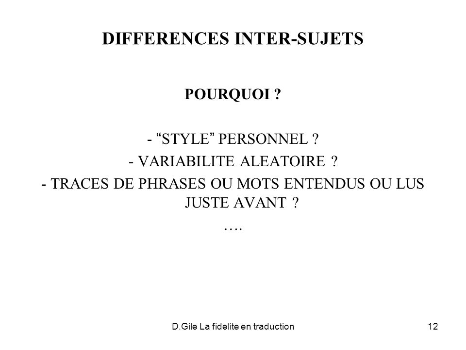 DIFFERENCES INTER-SUJETS