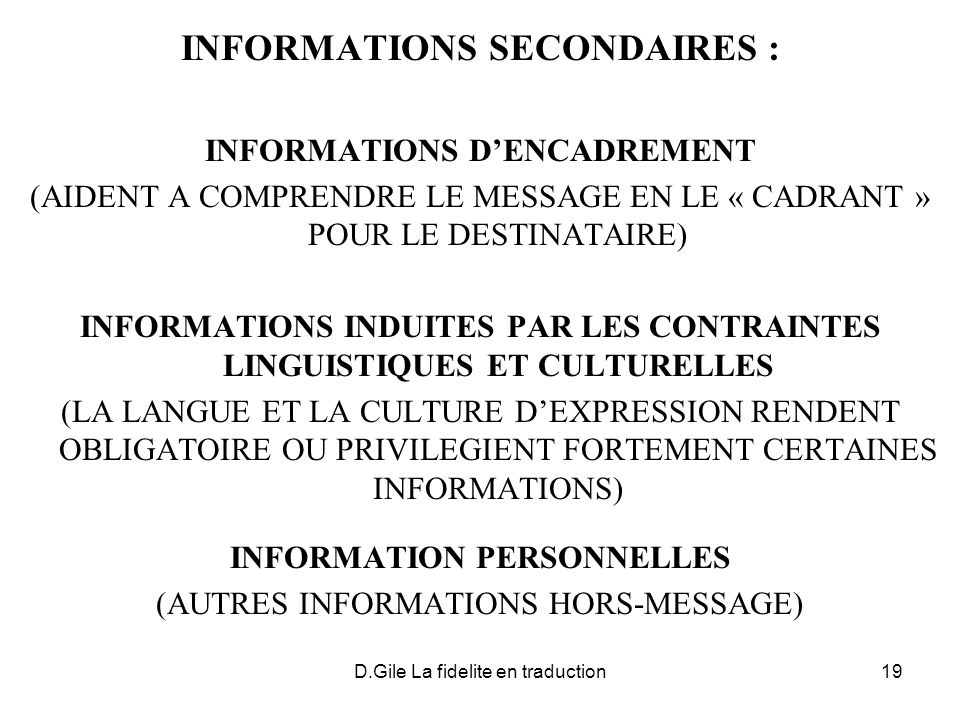INFORMATIONS SECONDAIRES :
