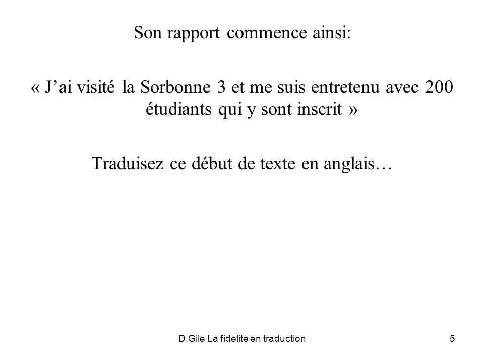 Son rapport commence ainsi: