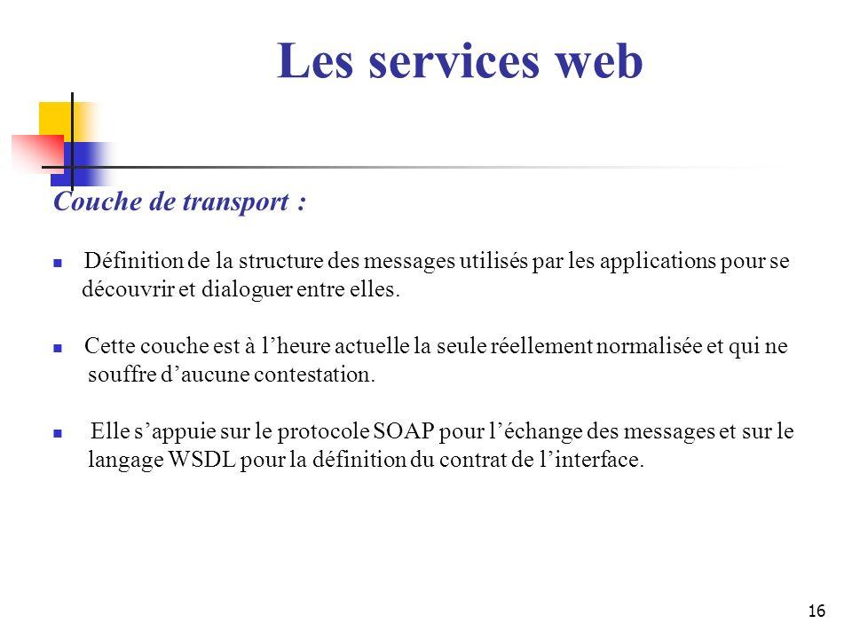 Les services web Couche de transport :