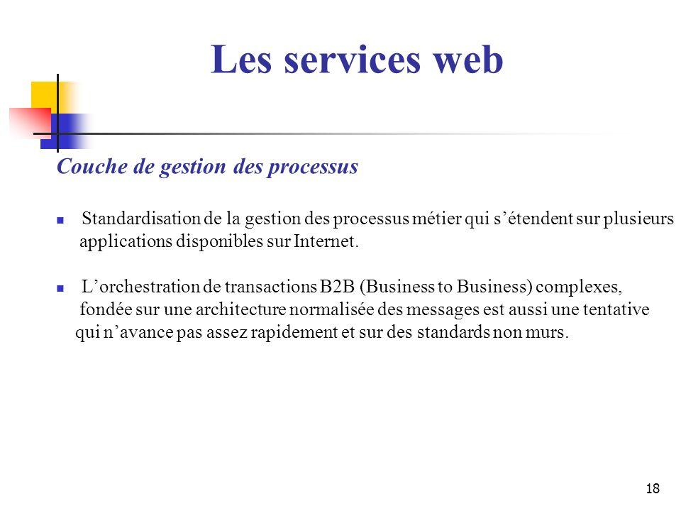 Les services web Couche de gestion des processus