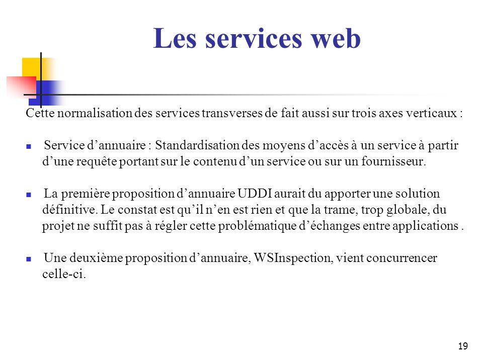 Les services web Cette normalisation des services transverses de fait aussi sur trois axes verticaux :