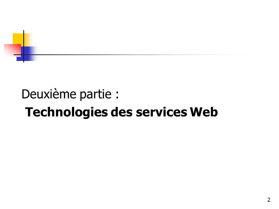 Deuxième partie : Technologies des services Web
