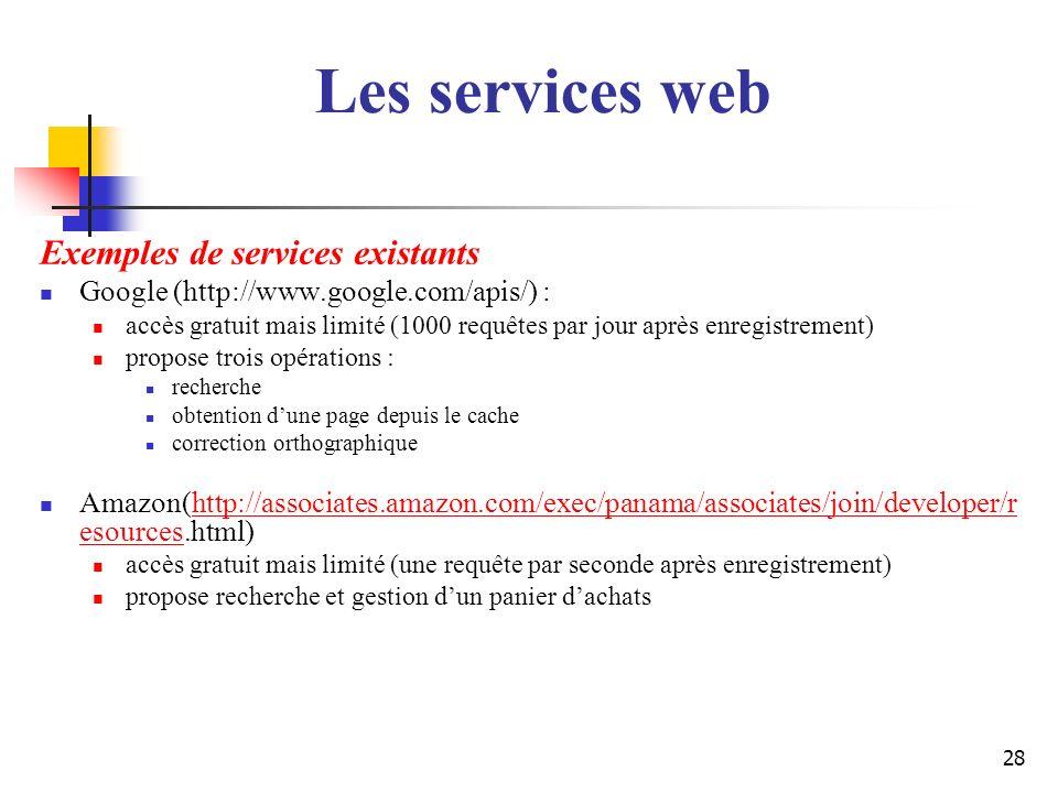 Les services web Exemples de services existants