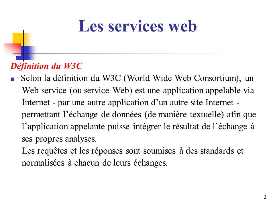 Les services web Définition du W3C