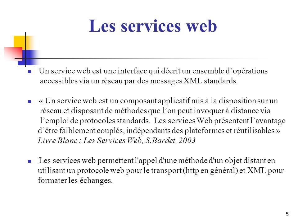 Les services webUn service web est une interface qui décrit un ensemble d'opérations. accessibles via un réseau par des messages XML standards.