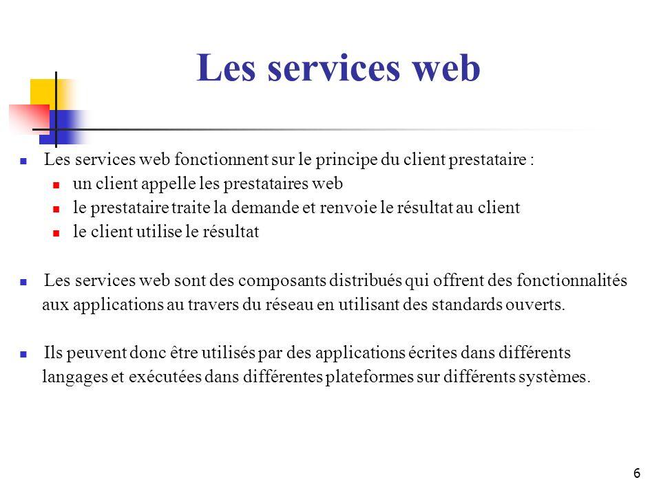 Les services web Les services web fonctionnent sur le principe du client prestataire : un client appelle les prestataires web.