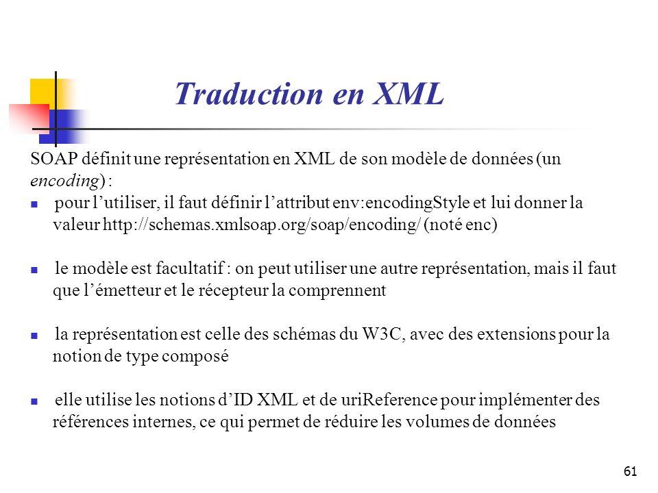Traduction en XML SOAP définit une représentation en XML de son modèle de données (un. encoding) :
