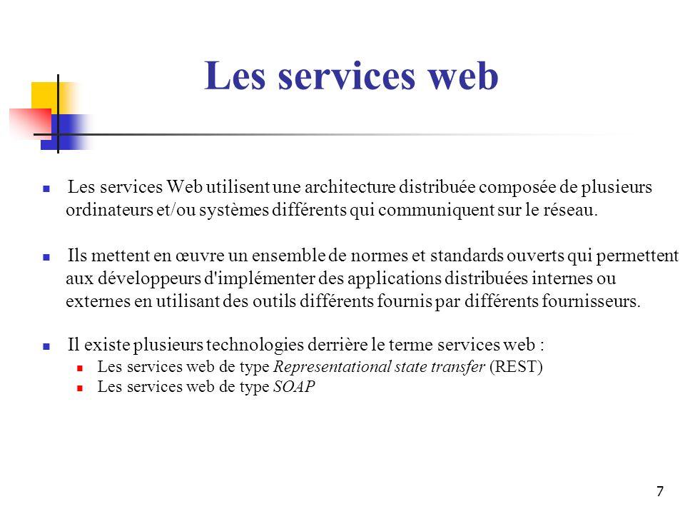 Les services web Les services Web utilisent une architecture distribuée composée de plusieurs.