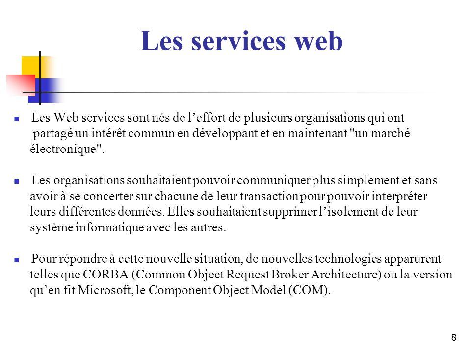 Les services web Les Web services sont nés de l'effort de plusieurs organisations qui ont.
