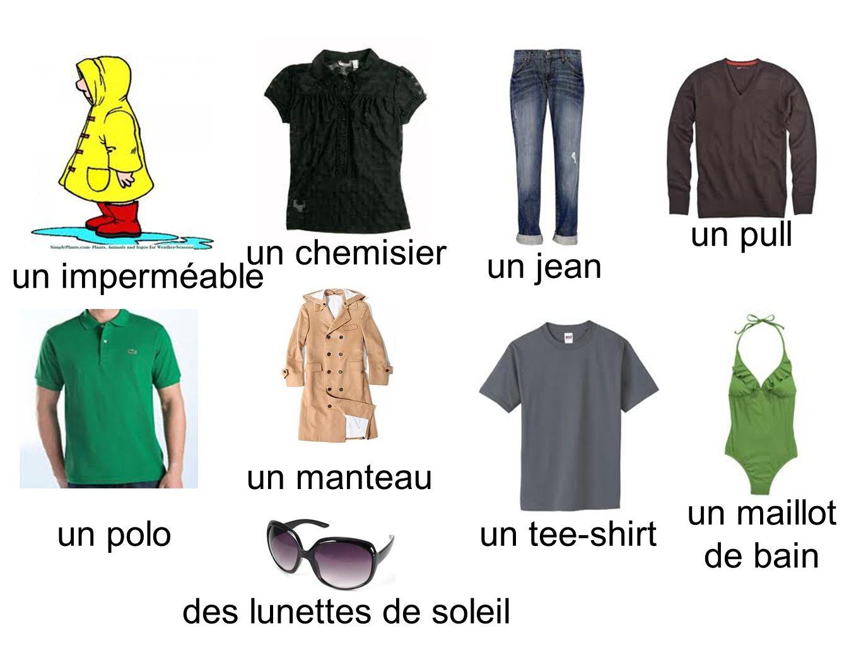 un pullun chemisier. un jean. un imperméable. un manteau. un maillot de bain. un polo. un tee-shirt.