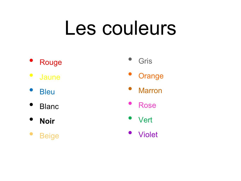 Les couleurs Gris Rouge Orange Jaune Marron Bleu Rose Blanc Vert Noir