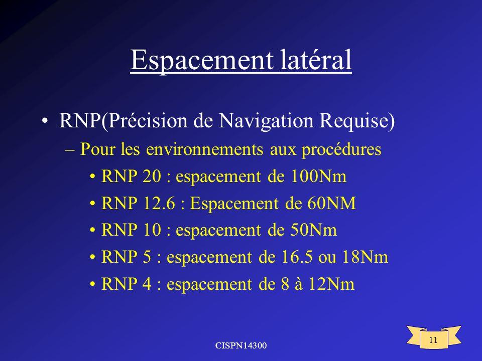 Espacement latéral RNP(Précision de Navigation Requise)