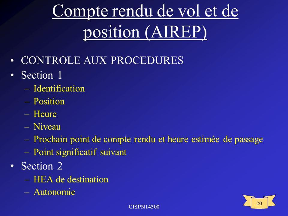 Compte rendu de vol et de position (AIREP)