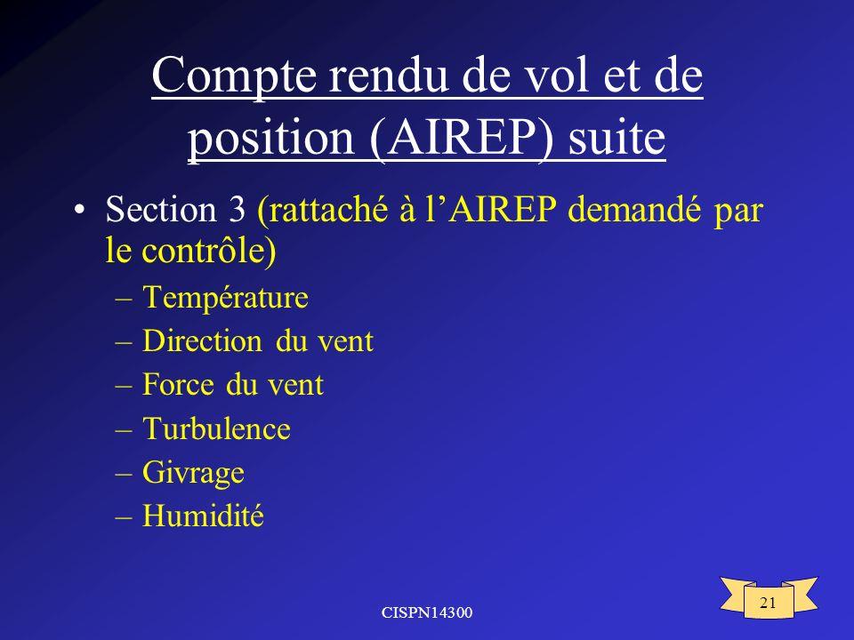 Compte rendu de vol et de position (AIREP) suite