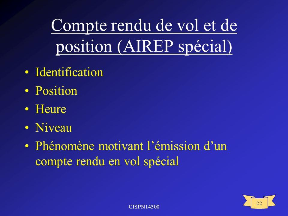 Compte rendu de vol et de position (AIREP spécial)