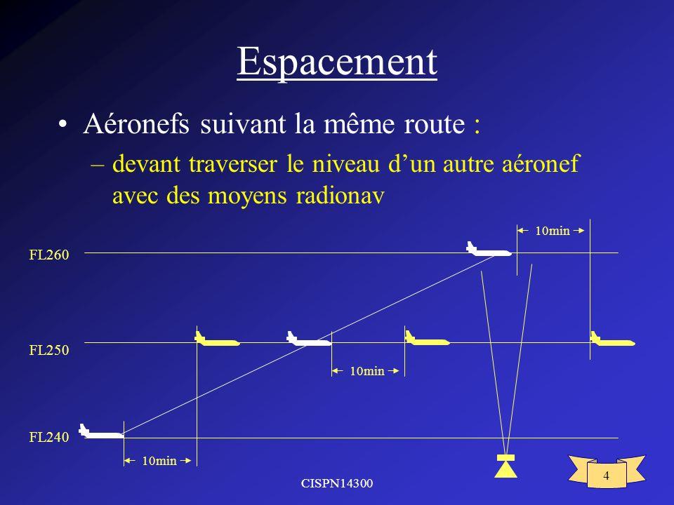 Espacement Aéronefs suivant la même route :