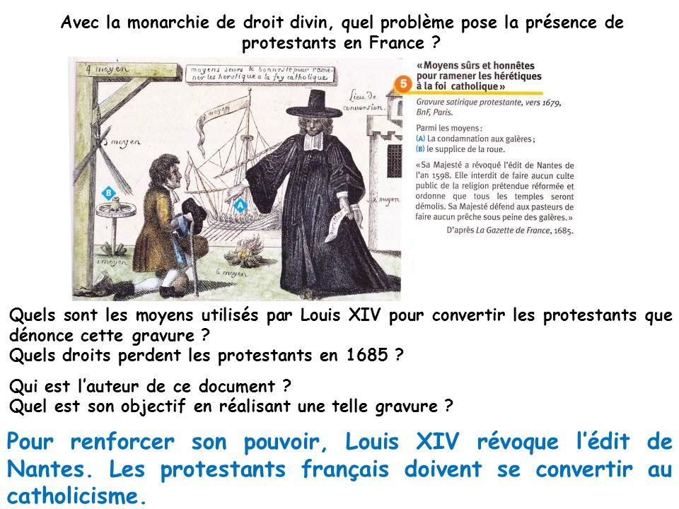 Avec la monarchie de droit divin, quel problème pose la présence de protestants en France