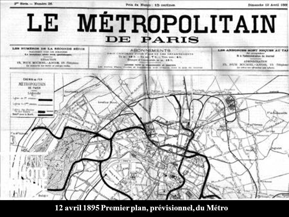 12 avril 1895 Premier plan, prévisionnel, du Métro