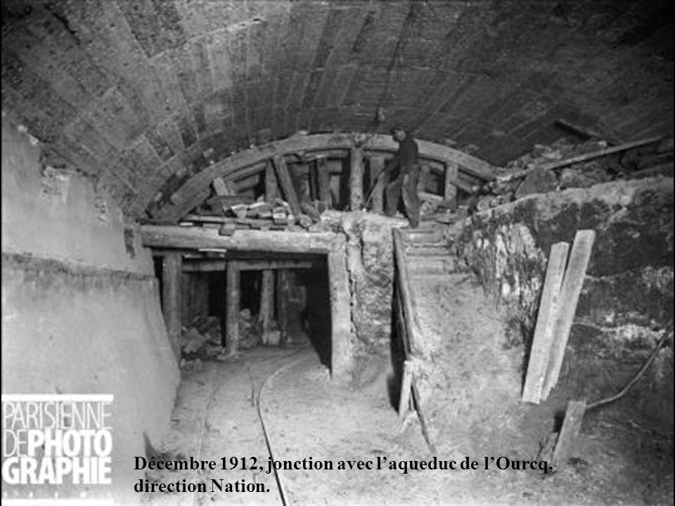 Décembre 1912, jonction avec l'aqueduc de l'Ourcq,