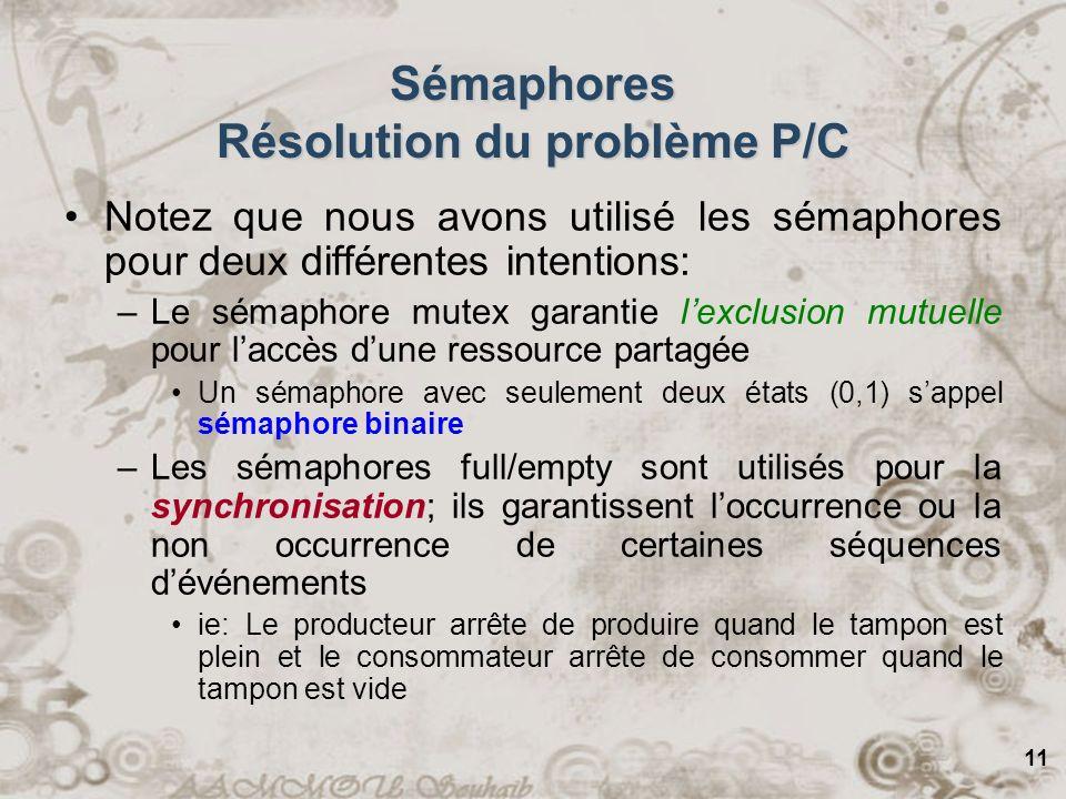 Sémaphores Résolution du problème P/C