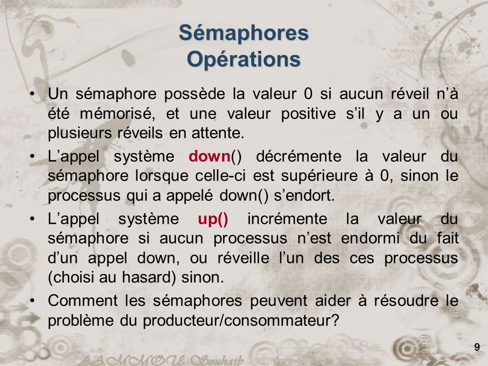 Sémaphores Opérations