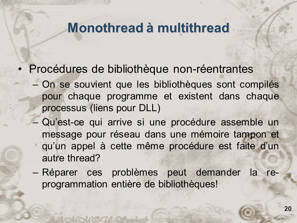 Monothread à multithread