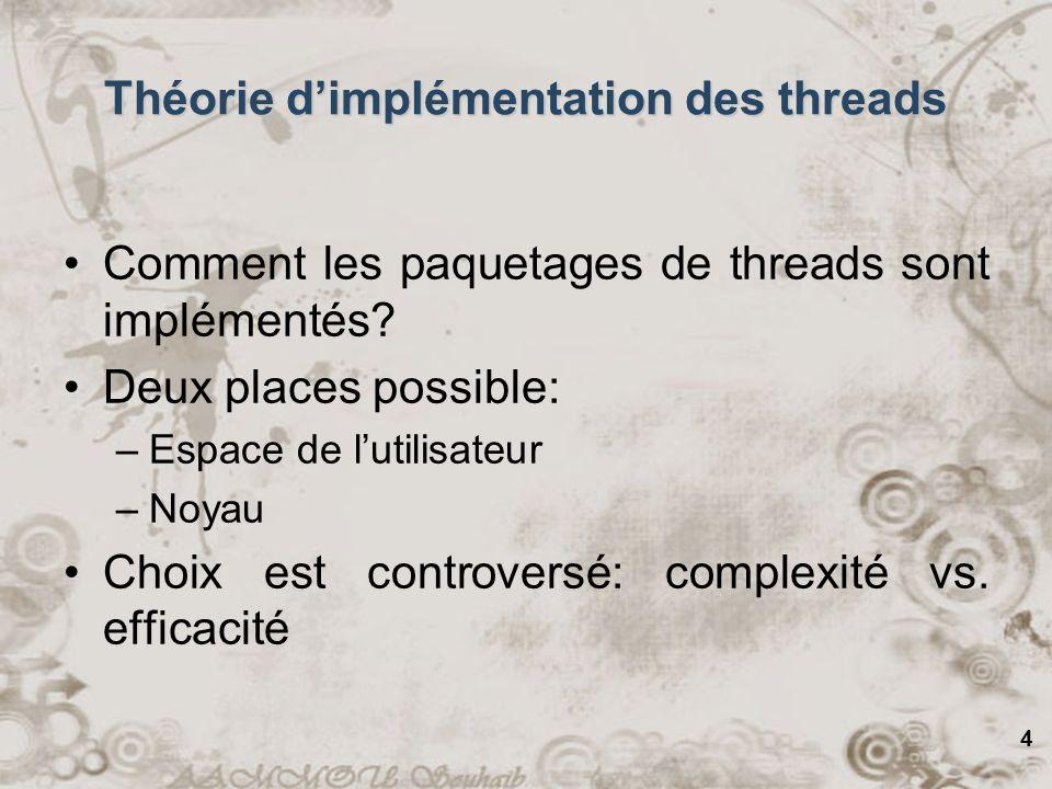 Théorie d'implémentation des threads
