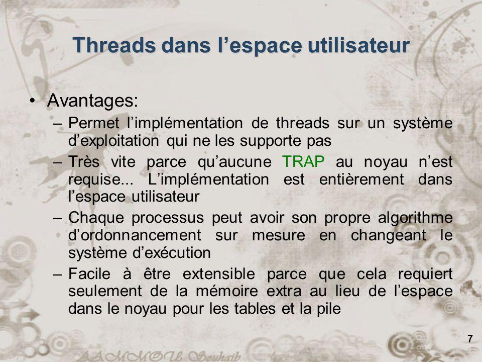 Threads dans l'espace utilisateur