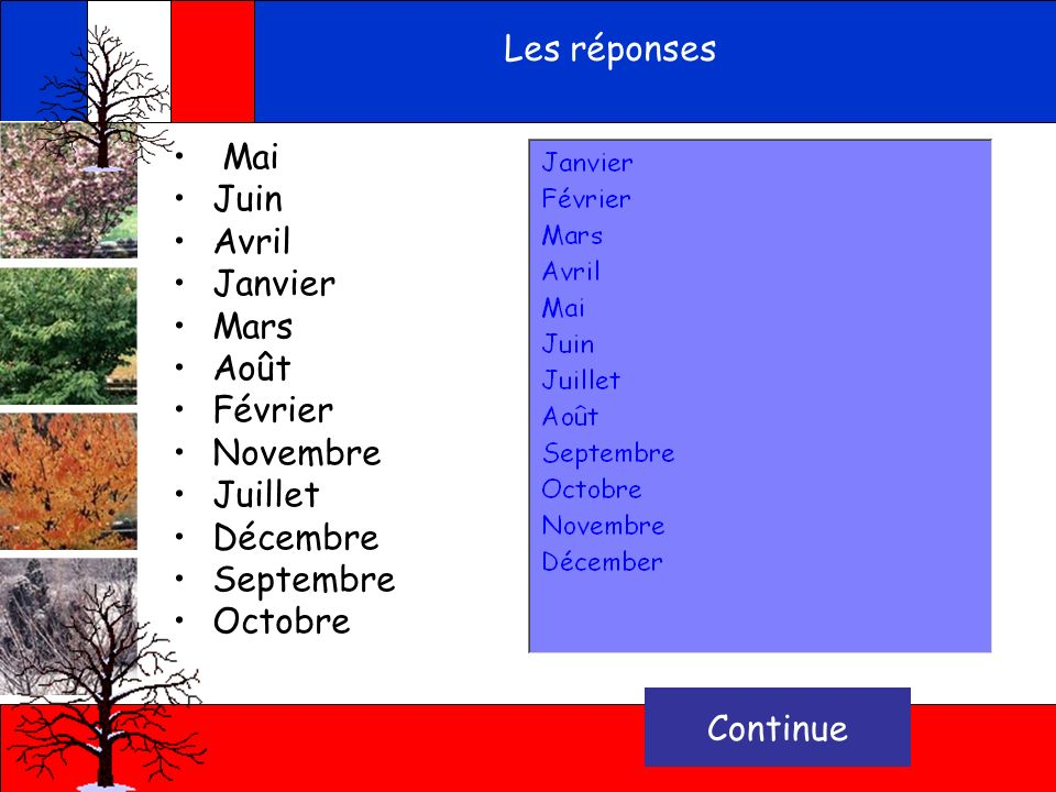 Les réponses Mai Juin Avril Janvier Mars Août Février Novembre Juillet