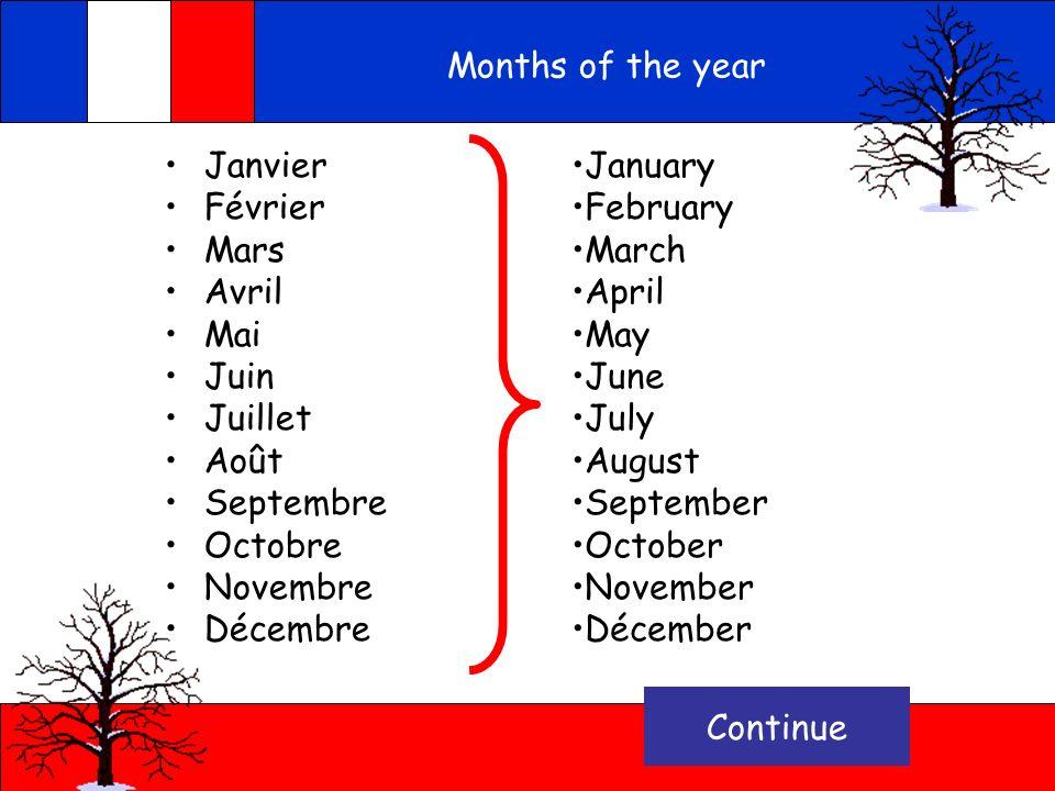 Months of the year Janvier Février Mars Avril Mai Juin Juillet Août