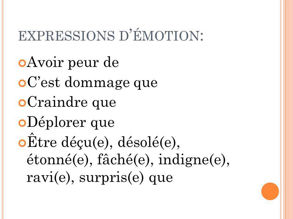 expressions d'émotion: