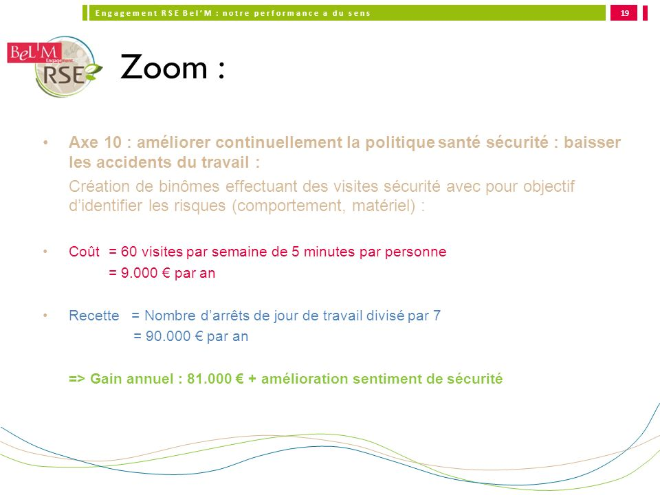 19Zoom : Axe 10 : améliorer continuellement la politique santé sécurité : baisser les accidents du travail :