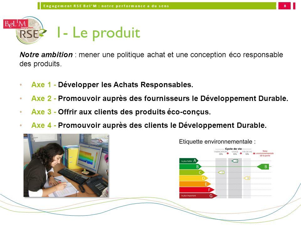 8 1- Le produit. Notre ambition : mener une politique achat et une conception éco responsable des produits.